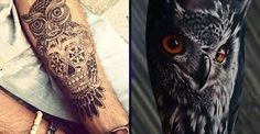 Znalezione obrazy dla zapytania owl tattoo arm