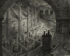 Victorian London streets with terraces, Gustave Doré, 1872.