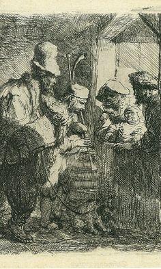 Os Músicos Saltimbancos. Gravura em água-forte. 1635. Rembrandt Van Rijn (1606-1669). Artista holandês.