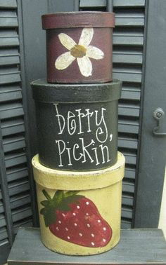Primitive Strawberry Stacking Boxes