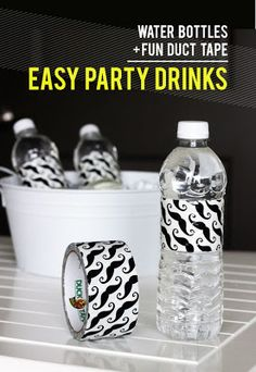 Use duct tape to dress up water bottles for a party. -- it was hard to keep the tape smooth because of the lines in the water bottle, also I used the exact tape in the picture and had to remove the actual label from the bottle so you couldn't see it through the tape.