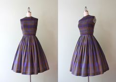 STOREWIDE SALE 1960s Dress / Vintage Early 60s Plum Plaid Dress / Sixties Olive Green Pleated Day Dress