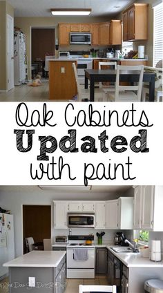 Painted Kitchen Cabinets Before and After #DIY nice to see how it looks on older cabinets that are not full overlay