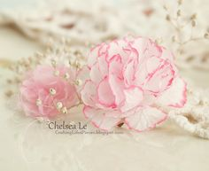 """Crafting Life's Pieces: """"Beauty"""" shabby chic card - carnation flower tutorial - I love the edges of these petals - flowers made from coffee filters or other porous paper"""