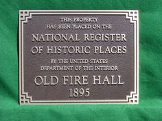 Cast Bronze Plaque - Old Fire Hall -  handcrafted by a small family owned and operated foundry - Paul W. Zimmerman Foundries, Co. dba Erie Landmark Company  Find us on the web at www.erielandmark.com or place an order by sending an email to info@erielandmark.com... or call 1-800-874-7848