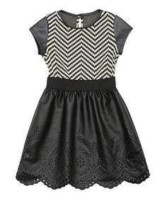 Black Chevron Skater Dress - Girls on #zulily