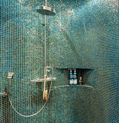 New Bathroom Ideas, Bathroom Inspiration, Bathroom Candles, Dark Bathrooms, Mosaic Bathroom, Bathroom Design Luxury, Steam Room, Glass Blocks, Modern Luxury