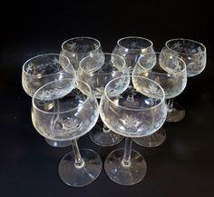 8 Cordial Glasses Crystal Wheel Cut by BonniesVintageAttic on Etsy #GotVintage #Vintage #Glass
