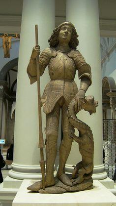 z- St George Murdering Pathetic Dragon- Limewood, Swabian, (Victoria & Albert Museum), c 1485