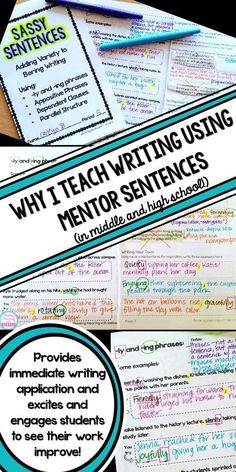 Why I Use Mentor Sentences to Teach Writing in my High School English Classroom Improve student writing and grammar without boring drills! Engage students and have fun while increasing writing sophistication with Mentor Sentences, 6th Grade Writing, Middle School Writing, Writing Classes, Writing Lessons, Writing Workshop, Teaching Writing, Writing Skills, Writing Activities, Essay Writing