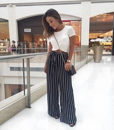 Comfortable striped wide pants-Summer casual wear for women – Just Trendy ., Summer Outfits, Comfortable striped wide pants-Summer casual wear for women – Just Trendy Girls. Outfits Leggins, Summer Pants Outfits, Crop Top Outfits, Mode Outfits, Spring Outfits, Trendy Outfits, Fashion Outfits, Flowy Pants Outfit, Wide Leg Pants Outfit Summer