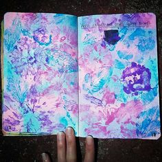 My Wreck This Journal. Press leaves and other found things page Chalk pastel background, used poster paint for flowers and leaves. About 6-7 different flowers and leaves. Flowers are pink and purple, leaves are blue
