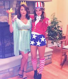 Lady liberty and Uncle Sam Patriotic Costumes, Cool Halloween Costumes, Diy Costumes, Halloween Diy, Halloween Makeup, Costume Ideas, Lady Liberty Costume, Oncle Sam, Uncle Sam Costume