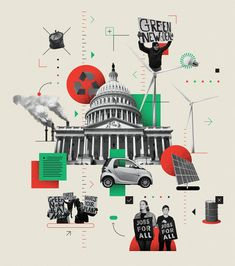 The Green New Deal, calling for the U. to decarbonize, is forcing all politicians to talk about climate change — not just the Democrats. Page Design, Book Design, Cover Design, Collage Design, Collage Art, Graphic Design Posters, Graphic Design Inspiration, Social Media Poster, Time Art