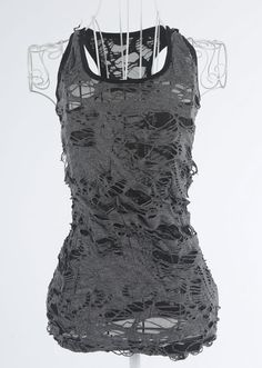 Bohemian Chic Ripped Tank Top in black, brown and grey. Get the fashion looks you love at the prices you want with the sale on Trend-Bazaar! Dark Fashion, Gothic Fashion, Fashion Looks, Mode Punk, Post Apocalyptic Fashion, Estilo Rock, Grunge Style, Swagg, Alternative Fashion