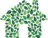 Eco green house Vector graphic illustration