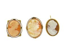 Lot of 3 10K 18K Gold Cameo Brooch Pendants Featured in our upcoming auction on July 26!
