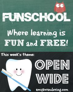 Funschool: Open Wide - a list of FREE educational lesson plans and printables about teeth and dental hygiene