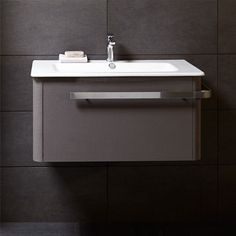 Linen 800 basin and wall mounted unit -grey | bathstore