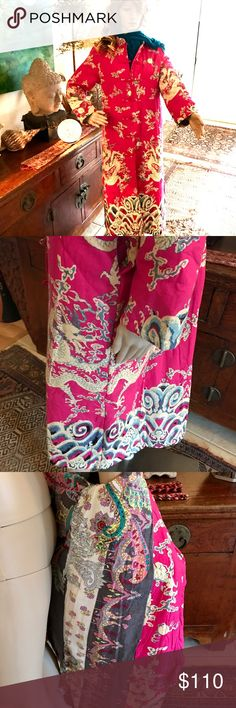 "NWT 💫Pink  Dragon Power Quilted Maxi Brand New With Tags. Never Worn. Totally cozy fuchsia quilted cotton Maxi coat with cream colored dragons with bits of teal blue,  two deep slit pockets, Mandarin collar and frog button closures. Great chilly weather statement Maxi for cool beach nights and Southern babes in winter. Great contrasting inner designs. Length 48"", Bust 21.5"", Shoulders 16.5"", Sleeves 23"". Awesome girlie statement coat that can be worn in many seasons! 💞💫✨ Jackets & Coats"