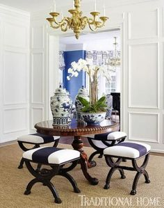 Love the stools upholstery and the lighter blue in the background. And then I see the top of the table.(bh)