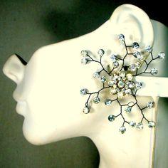 Vintage Wired Rhinestone Flower Earrings Big by VintageStarrBeads