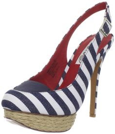 "Naughty Monkey Women's Overboard Platform Slingback Denim Shoe. These look as fun as their name. ""Naughty Monkey""!"