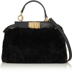 Fendi Peekaboo micro leather-trimmed shearling shoulder bag ($1,950) ❤ liked on Polyvore featuring bags, handbags, shoulder bags, black, fendi, purse, cell phone purse, crossbody purse, crossbody and black shoulder handbags