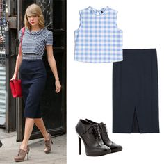 Play With Proportions: Skirt and Boot Pairings to Try - Below-the-Knee Pencil + Oxford Booties from #InStyle