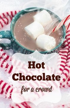 Having friends and family over on a cold winter's day? Serve up this crowd-s… Having friends and family over on a cold winter's day? Serve up this crowd-sized hot chocolate and everyone will feel warm and toasty! via Creating My Happiness New Year's Desserts, Christmas Desserts Easy, Desserts For A Crowd, Cute Desserts, Christmas Drinks, Food For A Crowd, Hot Cocoa Recipe For A Crowd, Christmas Candy, Christmas Hot Chocolate
