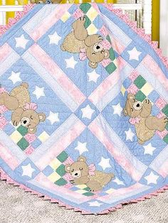 Quilting - Patterns for Children & Babies - Animal Quilt Patterns - Sleepy Bear Baby Quilt - Baby Quilt Pattern