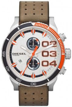 5f0196e3780d Diesel Men s Chronograph Double Down Tan Perforated Leather Strap Watch  Jewelry   Watches - Watches - Macy s