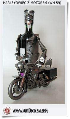 Harleyowiec z motorem - Stojak na wino - Prezent dla motocyklisty