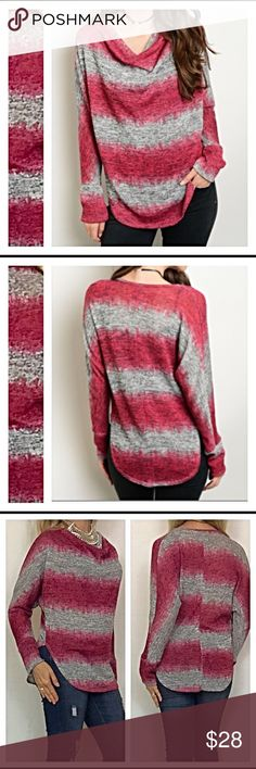 "⚡️FLASHSALE⚡️Marled Striped TieDye Cowl Neck Top S Beautiful Marled striped tie die cowl neck top in burgundy & gray. Great, lightweight & super cute with jeans or leggings. Flattering fit & stretchy - 96% polyester 4% spandex new from maker without tags ❤️❤️❤️ Measurements laying flat: Small Chest 39"" Length 26"" Medium Chest 40"" Length 26"" Large Chest 41"" Length 27"" Tops"
