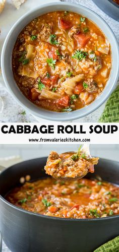 This Cabbage Roll Soup is a wholesome and delicious choice for serving on a cold winter night. Lean ground beef, green cabbage, carrots, and rice cook together in a deliciously seasoned broth in one pot to create this hearty stew-like soup. Cabbage Stew, Cabbage Roll Soup, Cabbage Rolls, Green Cabbage, Stuffed Cabbage Soup, Ground Beef And Cabbage, Soup With Ground Beef, Cabbage Recipes, Soup Recipes