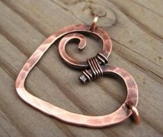 Solid Copper Heart Peandant Charm Handmade by ArtnSoulBeads, $18.00 by lea