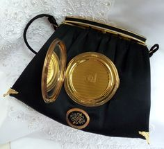 Black Silk Formal Purse, Vintage Evening Bag, Haute Couture clutch with antique compact mirror, Wedding Accessory,