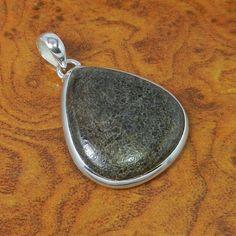 Dinosour Bone Gemstone 925 Sterling Silver Pendant 9.95g SJP-0164 #Handmade #Pendant