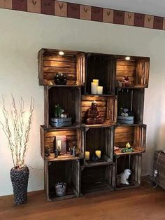 upcycling ideen möbel aus weinkisten dekoideen upcycling ideas furniture made of wine boxes decoration ideas - Home Decor Tips, Cheap Home Decor, Rustic House, Home Projects, Diy Pallet Furniture, Interior, Home Decor, Furniture, Apartment Decor