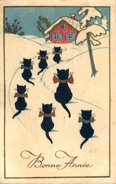Vintage Animals -  Animals - Vintages Cards -  animal, animals, vintage, xmas, christmas, holidays, free, clipart,