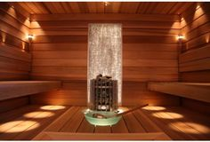 If you want the health and wellness benefits of steam without going to the spa, then you can either buy a home unit pre fabricated or create your own sauna design. Interior Garden, Home Interior Design, Sauna Lights, Outdoor Sauna, Sauna Design, Sauna Room, Architecture Art Design, Light In, Crushed Glass