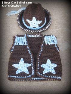 Crochet Pattern / Cowboy Hat Vest /  4 by 3BoysAndABallOfYarn, $4.99