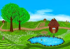 Fields flowers beehives lake ducks houses and more by NikaLerman, $28.00