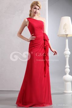 One-Shoulder Sleeveless Floor-length Red Zipper A-line Chiffon Ruched/Ruffles Elegant/Luxurious Natural Mother Of Bride Dress