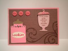 Chocolate and Girlfriends blank note card pink brown cookies by DAWNSCRAFTCOTTAGE on Etsy