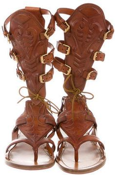 a92709d53cfec Christian Louboutin Leather Gladiator Sandals - ShopStyle