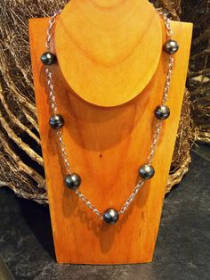 14k white gold and #TahitianPearls Tin Cup style necklace.