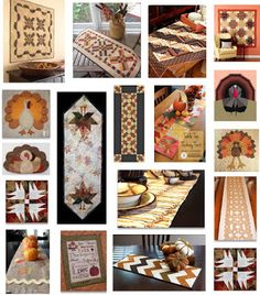 Free pattern day ! Thanksgiving table toppers and wall quilts (and a few turkeys). Updated July 2015 at Quilt Inspiration.