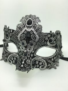 Silver and Black Lace Mardi Gras Mask