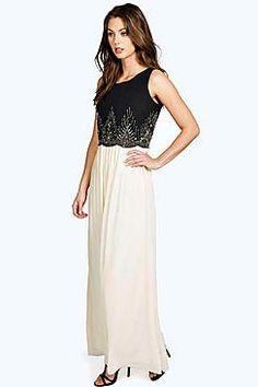 Boutique Kaya Embellished Chiffon Maxi Dress